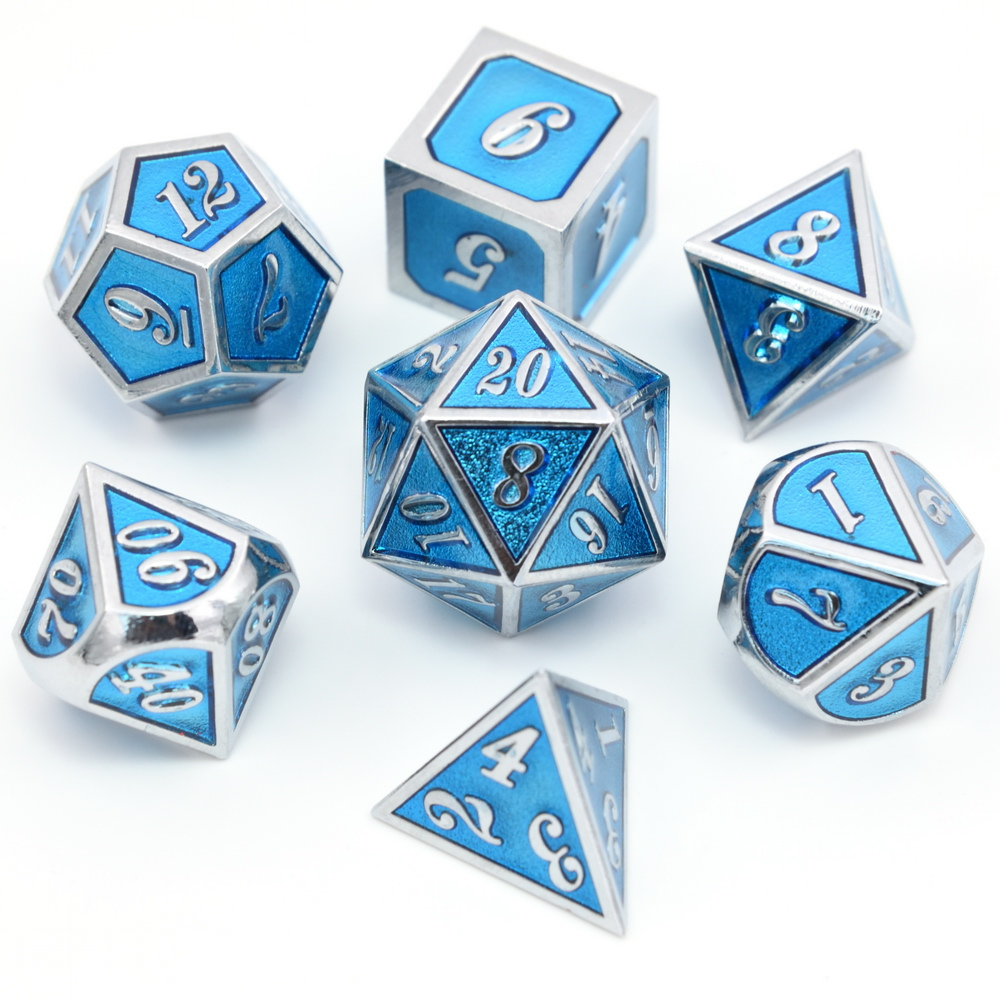 Nova Fonte de Cor Azul Transparente Metal Dice 7 pçs/set d4 d6 d8 d10 d % d12 d20 para Dungeons & dragões RPG Jogo de Tabuleiro