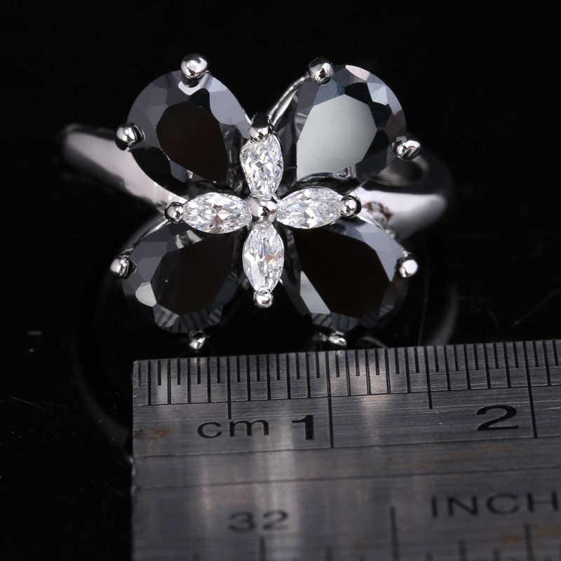 ดี4กลีบดอกพลัมสีดำนิลสีขาวCubic z irconia 925เงินอินเทรนด์พรรคJewelrysแหวนสหรัฐ#ขนาด6 7 8 9 S1655