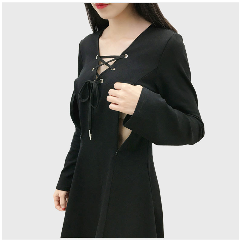 Broadcloth A-line Solid Black Deep V-Neck Breastfeeding Dress Full Sleeve Collect Waist Nursing dress Pregnancy Clothes