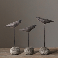 3 PCS/SET Stone Seabirds Retro Ornaments Sea Bird Decor American Country Home Accessories Living Room Ornaments Resin Crafts