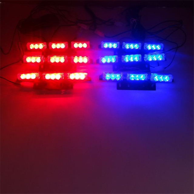 Amber Red Blue LED Grille Flash Car Light Strobe Flash Warning EMS Police  Truck Light Flashing
