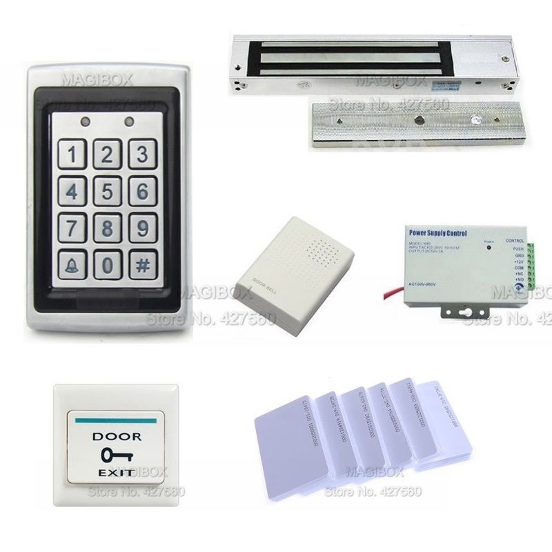 ACSS20  Door Access Control System Kit ID/EM Reader &keypad+ 280Kg Magnetic Lock +Power Supply+ Cards