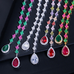Image 5 - CWWZircons Beautiful Green and Red CZ Zirconia Stone Jewelry 4 Leaf Long Drop Party Necklace Earrings Sets for Women T225