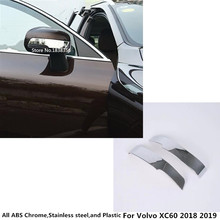 Car styling body ABS chrome back rear view Rearview Side Mirror Cover stick trim frame lamp hood 2pcs For Volvo XC60 2018 2019