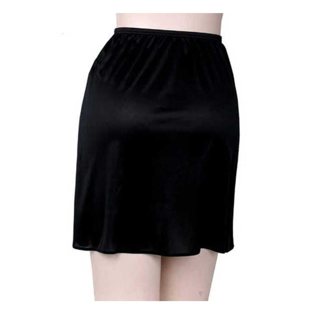 ผู้หญิงใหม่ยืดซาตินสั้นครึ่ง Petticoat อุปกรณ์เสริมชุดชั้นในสวมใส่ด้านในกระโปรง 1 ชั้น Elastic เอวสั้น Petticoat