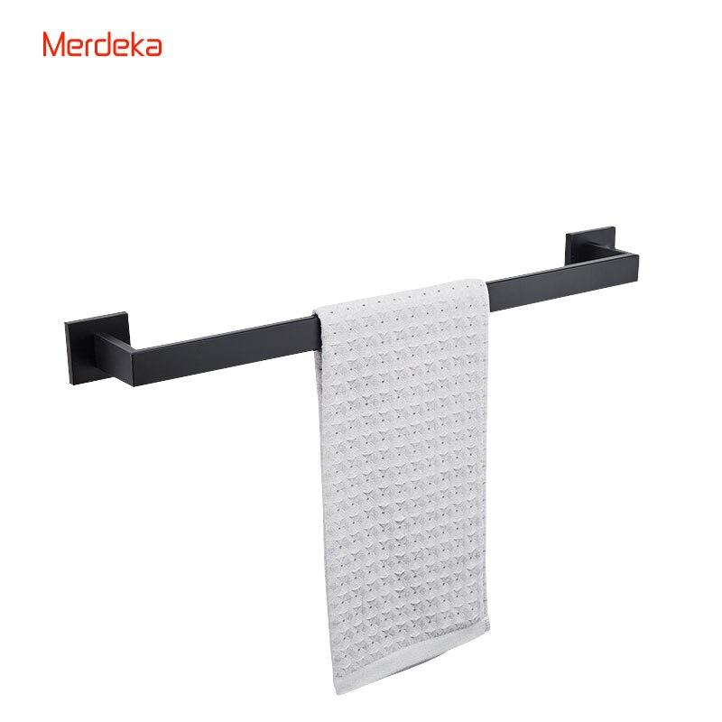 все цены на Matt Black (60cm) Length Square Wall Mounted Stainless Steel Single  Towel Bar Bathroom Fixture Clothes Holder онлайн