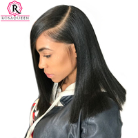13x6 Lace Front Wig Short Human Hair Wigs For Women Straight Bob Wig Full End Glueless Natural Black Remy Rosa Queen