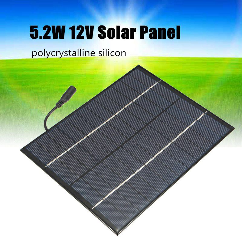 12V 5.2W Mini Solar Panel Polycrystalline Solar Cells Silicon Epoxy Solar DIY Module System Battery Charger + DC output