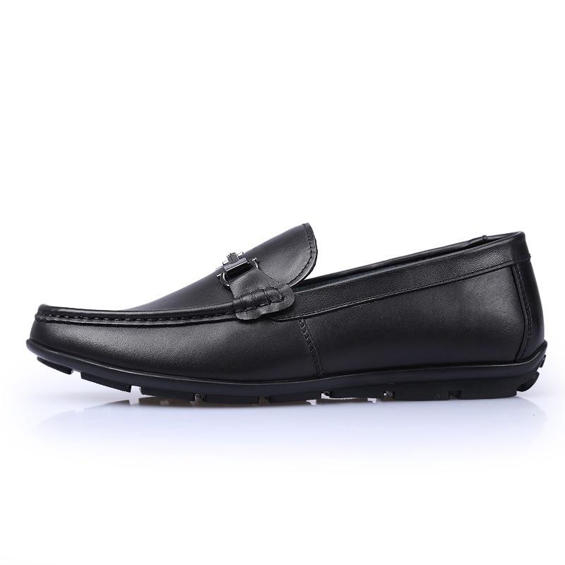 Deslizamento 2018 Marca Preto De Flats Casuais Outono Homens Em Dos Condução Mocassins Couro Genuína Novo Sapatos Masculinos w0qpz