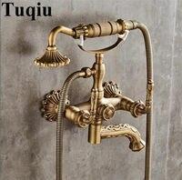 Смесители для ванны Настенные античная бронза резные ванной кран с ручной душ ванная комната краны для ванной и душа Torneiras