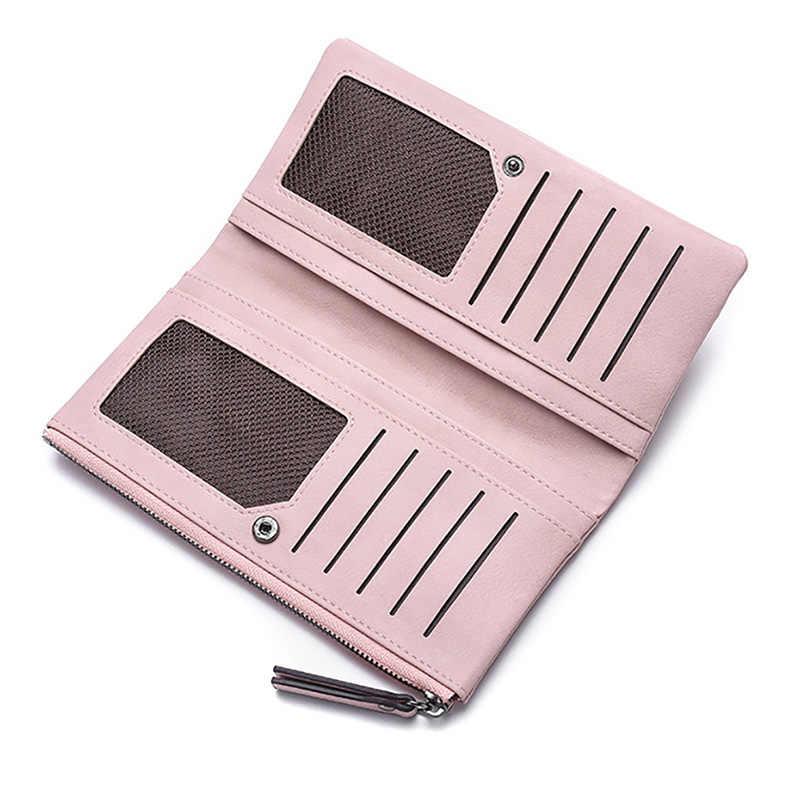 Женский кожаный кошелек-клатч, длинные кошельки для телефона для женщин, s держатель для карт, двойная сумка для денег, женские большие кошельки, розовый кошелек, Portafogli