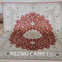 Yilong 8'x10 'El Yapımı satılık madalyon kırmızı farsça kilim halı satış (0949)