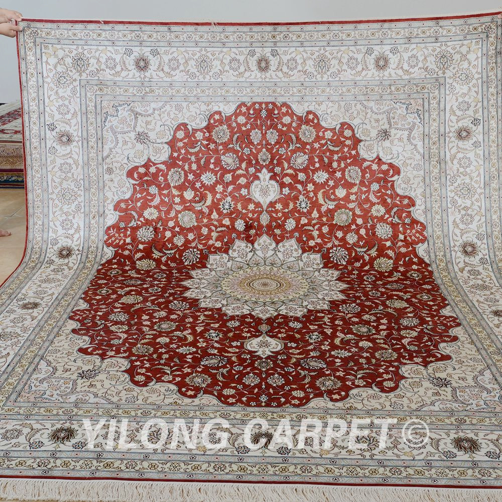 Yilong 8u0027x10u0027 Handmade Rugs For Sale Medallion Red Persian Carpet Sale (0949