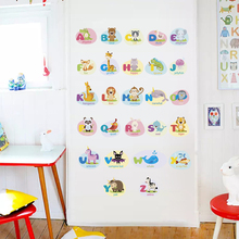 Cartoon Animals 26 English Letters Name Wall Stickers Teaching Tools For Kids Nursery Rooms Decorations PVC DIY Mural Art Poster