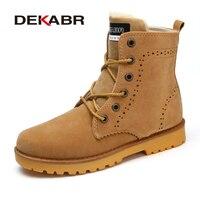 DEKABR New High Quality Men Winter Boots Fashion Warm Plus Fur Ankle Boots Brand Comfortable Shoes