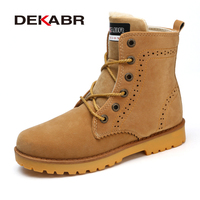 DEKABR New High Quality Men Winter Boots Fashion Warm Plus Fur Ankle Boots Brand Comfortable Shoes