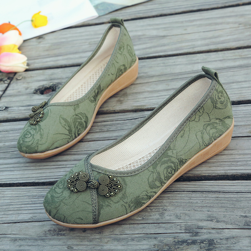 AARDIMI National Style Handmade Women Canvas Shoes Casual Slip On Wedges Flats Shoes Woman Shallow Linen Flat Platform Shoes
