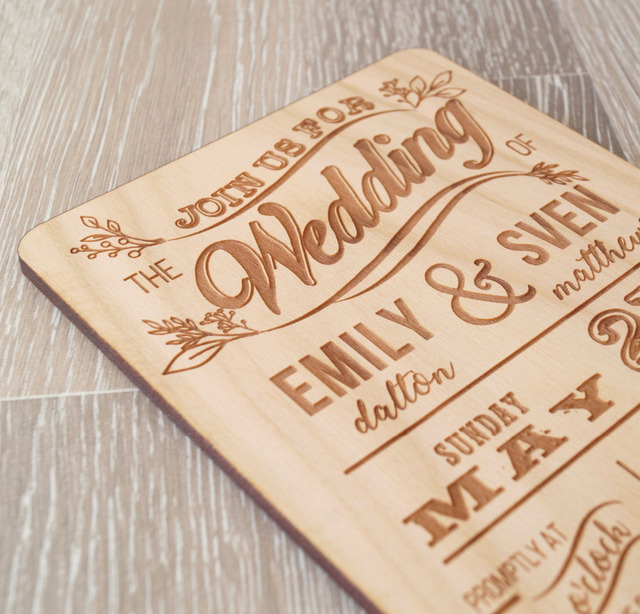 Personalized Real Wood Wedding Invit Invitations Cutting Invitation Card Paper Hollow