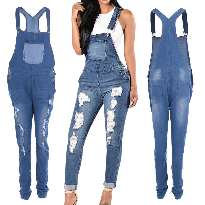 LASPERAL 2019 Spring Women Denim Overalls Jumpsuits Ripped Holes Casual Pockets Sleeveless Jumpsuits Hollow Out Slim Rompers 2XL