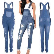 LASPERAL 2019 ฤดูใบไม้ผลิผู้หญิง Denim Overalls Jumpsuits Ripped หลุม Casual กระเป๋าเสื้อแขนกุด Hollow Out Slim Rompers 2XL(China)