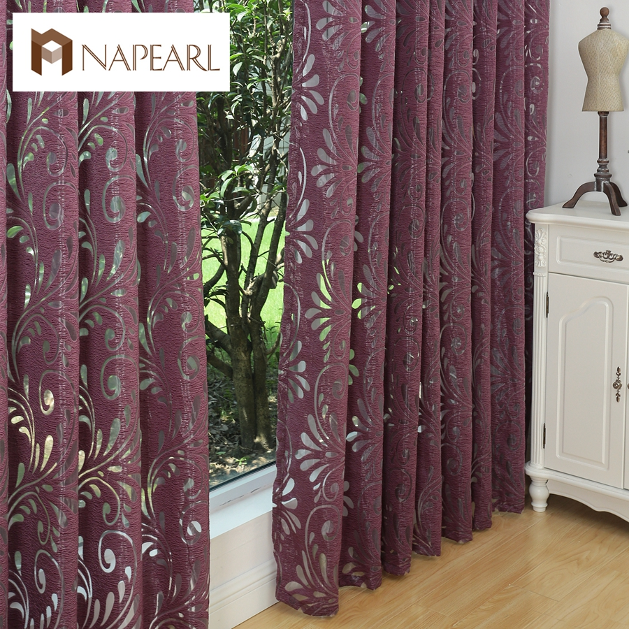 NAPEARL official store Multiple colors ready made semi-blackout curtains blind panel fabrics for window purple curtains