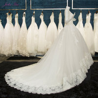 Julia Kui Real Photos Elegant Tulle Princess Wedding Dress Lace Appliques Embroidery Lace Up Scoop Bridal