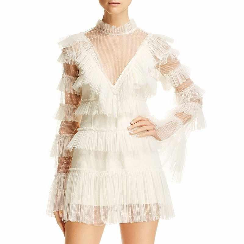 CHICEVER Сетчатое лоскутное мини-платье для женщин с высокой талией, v-образным вырезом, Расклешенным рукавом, перспективное сексуальное ТРАПЕЦИЕВИДНОЕ ПЛАТЬЕ Женская Весенняя мода