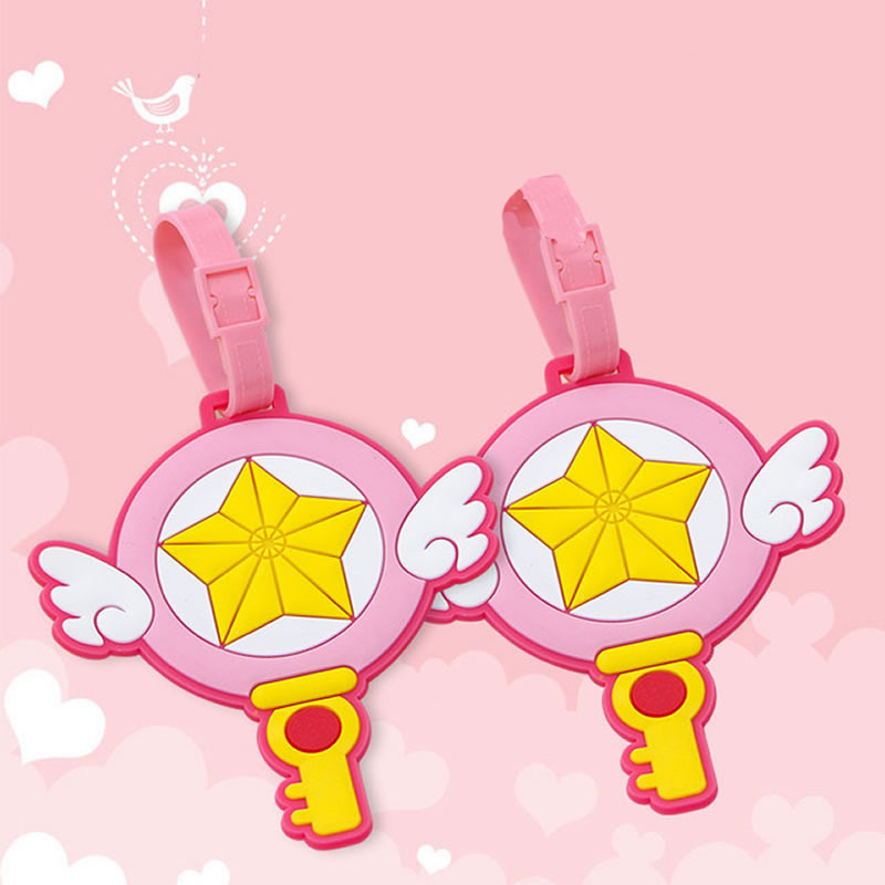 Cute Cartoon Star Wing Magic Wand Suitcase Luggage Tag Travel Accessories ID Address Holder Women Baggage Label Organizer Silica
