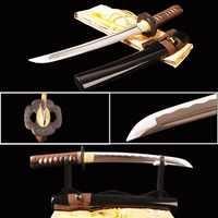 Brandon Swords Sharp Full Tang Samurai Tanto Sword Practice Japanese Short Knife 1060 Carbon Steel Wave Hamon Metal Home Decor