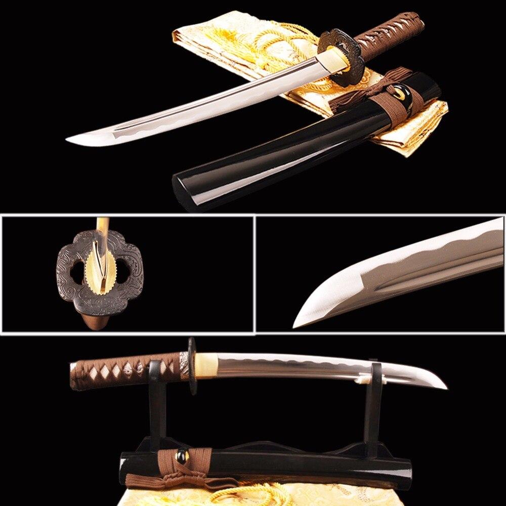 Shijian épées sharp pleine saveur samurai tanto sword pratique japonais court couteau 1060 en acier au carbone vague hamon en métal décor à la maison