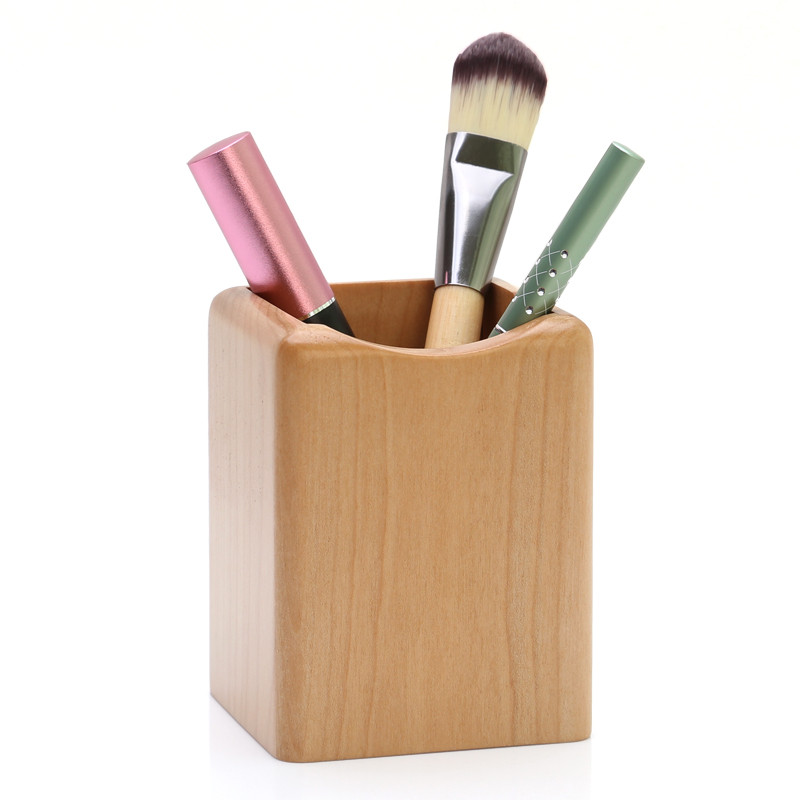 Wooden Pen Box Multiple-Use Desk Organizer Eco Natural Wood Storage Box for Cosmetics/Stationary Chopsticks Container
