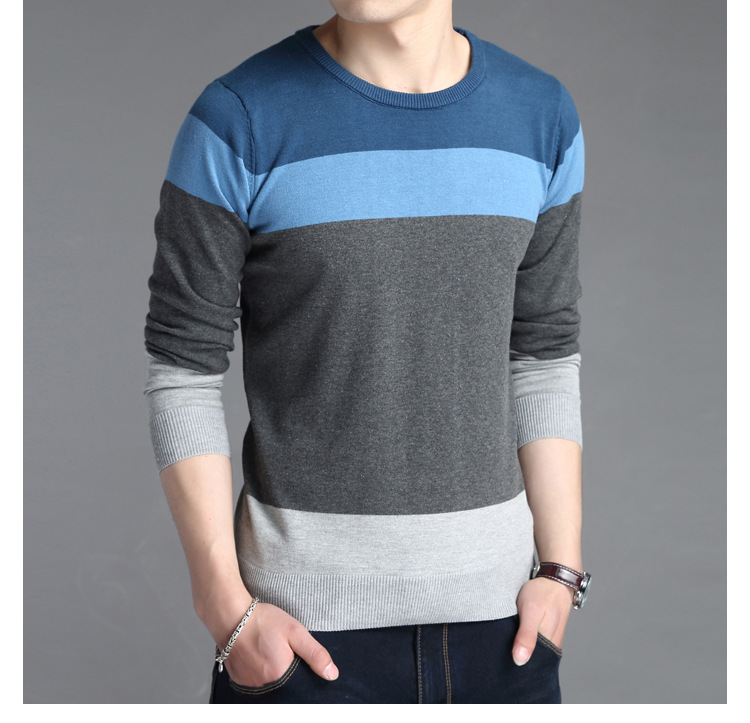 2018 Autumn Casual Mens Sweater O-Neck Striped Slim Fit Knitted Sweater Men O-neck Long Sleeve Patchwork Pullover Big Size 3XL