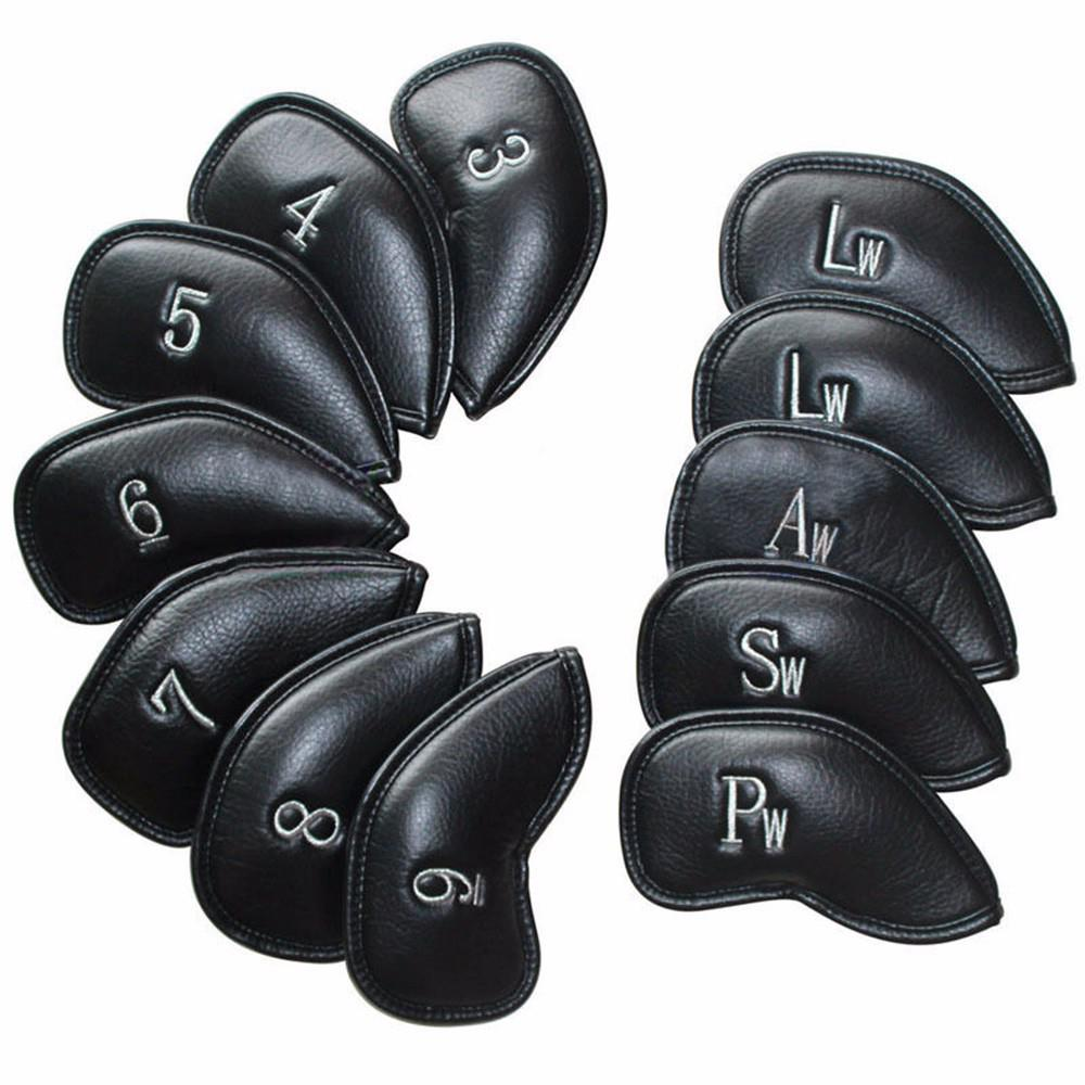 Mounchain 12PCS/Set Exquisite PU Golf Club Iron Head Covers Protector Golf Head cover Sets Iron Club Head Cover Accessories soft neoprene golf club iron putter head cover set black 11 piece