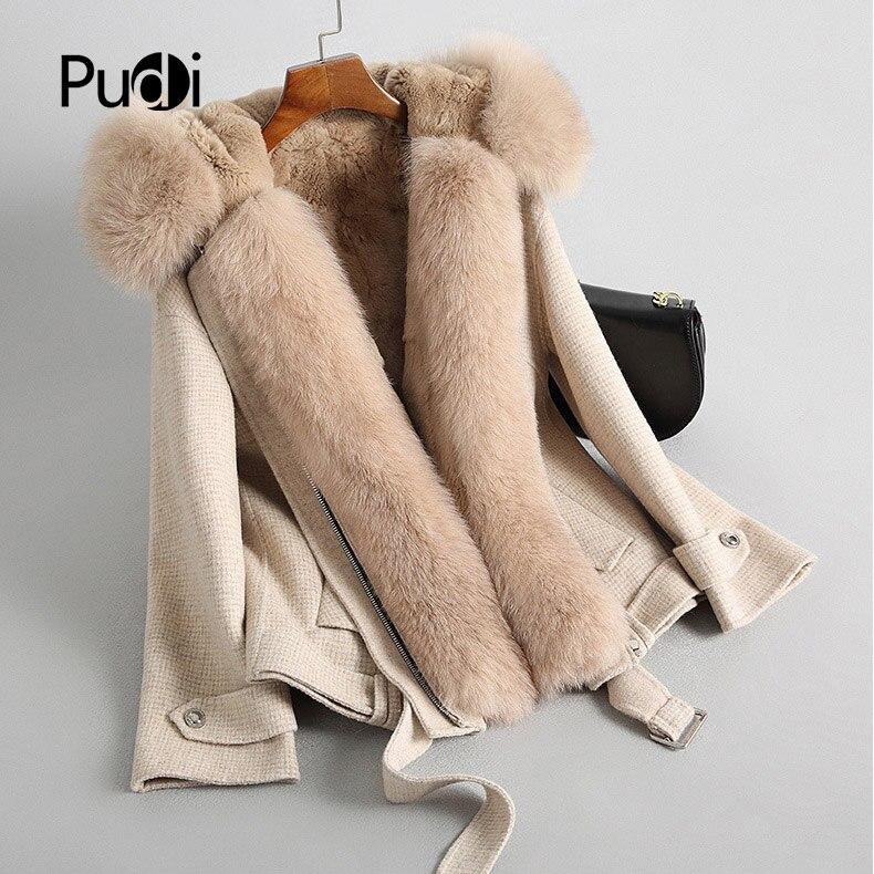 Kadın Giyim'ten Gerçek Kürk'de PUDI RO18099 2018 Kadın Sonbahar Kış yeni yün tilki yaka ceket tavşan kürk uzun tarzı cep eğlence ceket'da  Grup 1