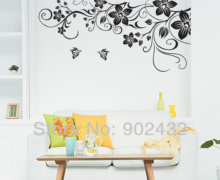 Large Size Black Vinyl Butterfly Flowers Vine Art Wall Sticker Decals  Living Room Bedroom Wall Border