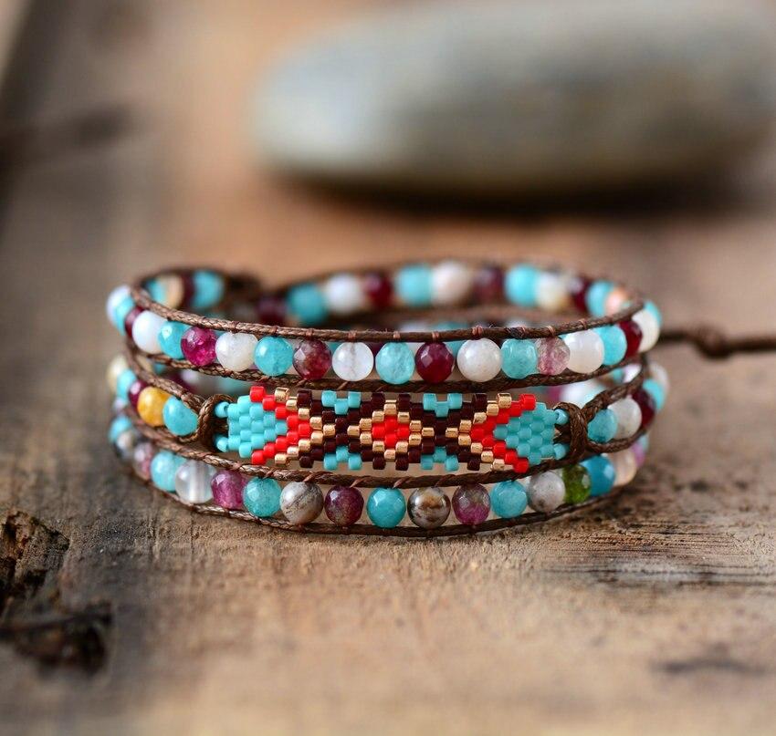 Colorful Seed Beads Boho Bracelet Women Natural Stones Beaded Simple Wrap Bracelet Birthday Gift Dropshipping bracelet