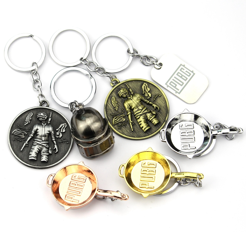 Game PUBG Keychain Playerrunknowns Battergrounds Mask Jewelry Mini Pans Keychain Llavero Chaveiro Men Boys Gift