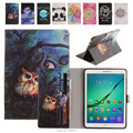 Pintura de qualidade stand case couro flip for samsung galaxy tab s2 9.7 T815 T810 SM-T815 Tablet Pc Case Back Cover & Cartão Slots