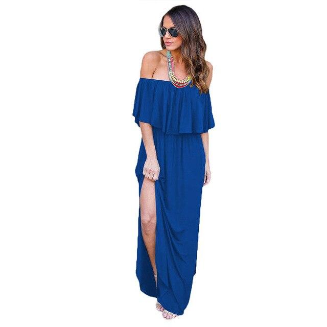 104f49d95c2b 2018 New Women Sexy Burgundy Off Shoulder Ruffle Bodycon long Dress split  beach summer maxi Dresses