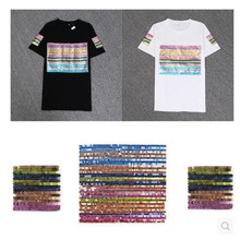 Fashion Tops Shirt Girl Patch Diy Clothes 23cm Stripe Street Icon Sequins deal with it Patches for clothing T shirt Women stripe pattern patch t shirt