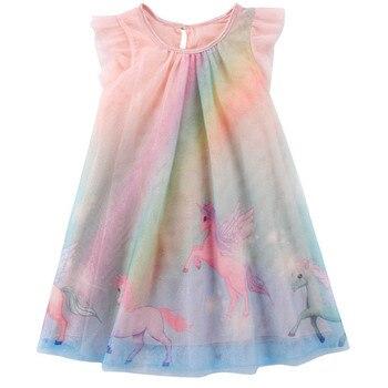 592303df9c2 Нарядное платье с единорогом для маленьких девочек  платье-пачка для дня  рождения  Детские платья для девочек  детская Праздничная летняя о.