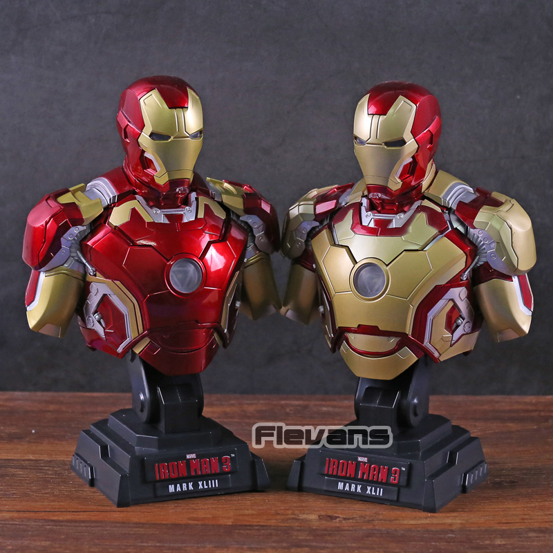 Iron Man MARK XLIII MK 43 MARK XLII MK 42 Bust Statue PVC Figure Collectible Model