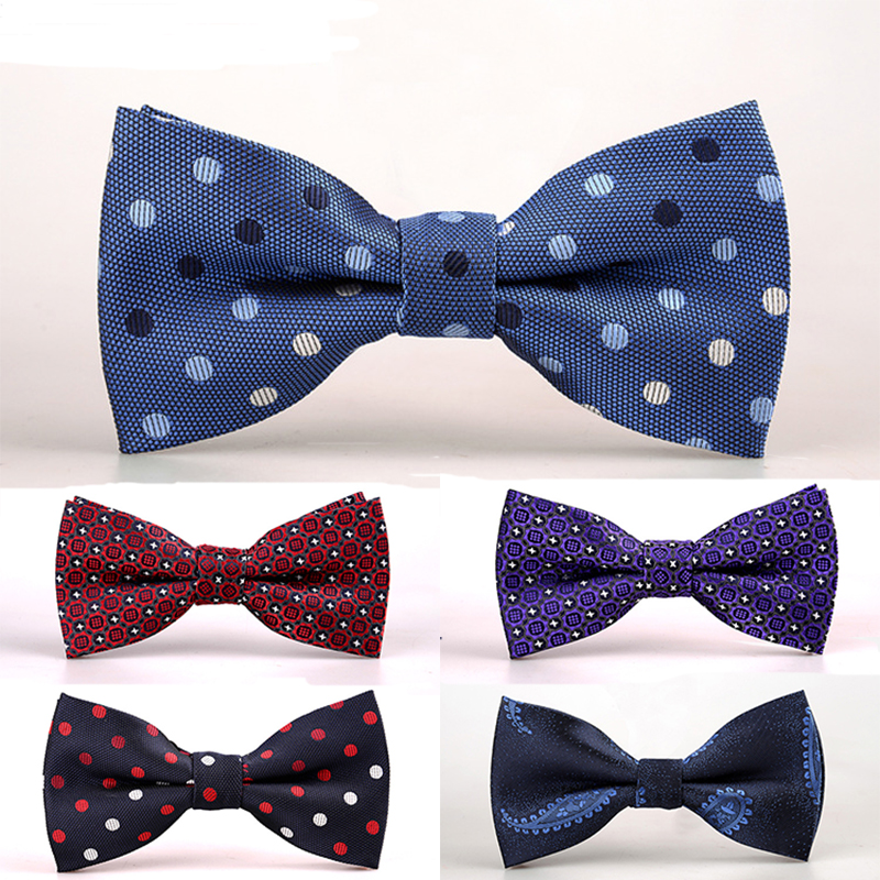 Men's Ties & Handkerchiefs Cityraider Brand White Red Dot Print Blue Silk Ties For Men Neckties Bow Tie And Pocket Square With Necktie Match 3pcs Set Ld100