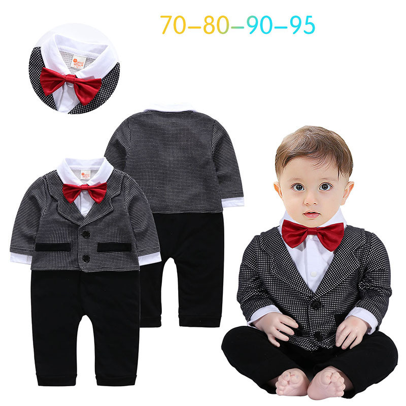 2017 New autumn infant long sleeve rompers fashion baby cotton clothes kids jumpers andsome gentleman plaid vest rompers 17S907