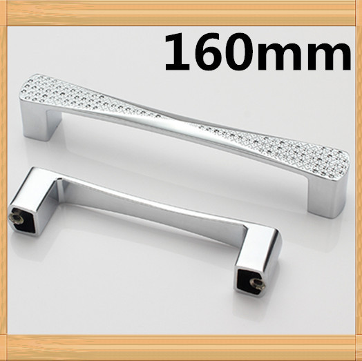 Length 170mm Hole Pitch  160mm silver Dresser Drawer Pulls Cabinet Knobs And Handles Crystal Glass Furniture Handle css clear crystal glass cabinet drawer door knobs handles 30mm