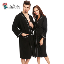 Vislivin 100% хлопок пары халаты Для женщин Халаты Зимние халаты для Для женщин Для мужчин женские ночные сорочки кимоно Robe Одежда