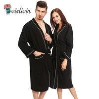 Vislivin 100% Cotton Couples Bathrobes Women's Robes Winter Dressing Gowns For Women Men Female nightgowns Kimono Robe Clothes