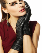 Direct Selling Gloves For Women Middle-long Style Genuine Leather Glove Female 2019 Fashion Goatskin Winter Driving Sale L010nc