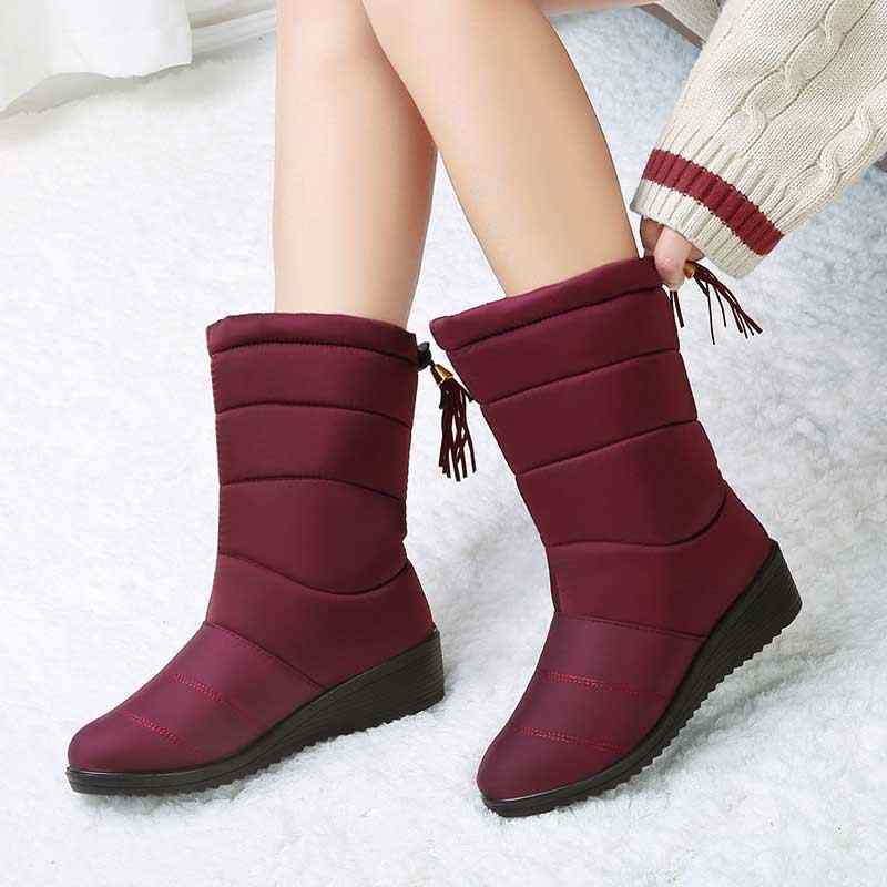 Mid Calf Boots Women Fur Waterproof Snow Boots Fringe Winter Shoes Women  Wedges Shoes Ladies Rubber 4f18711613ed