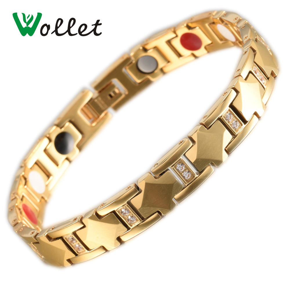 цена Wollet Jewelry Tungsten Magnetic Bracelet For Women Gold Color Health Zircon Steel Infrared Germanium Tourmaline Negative Ion